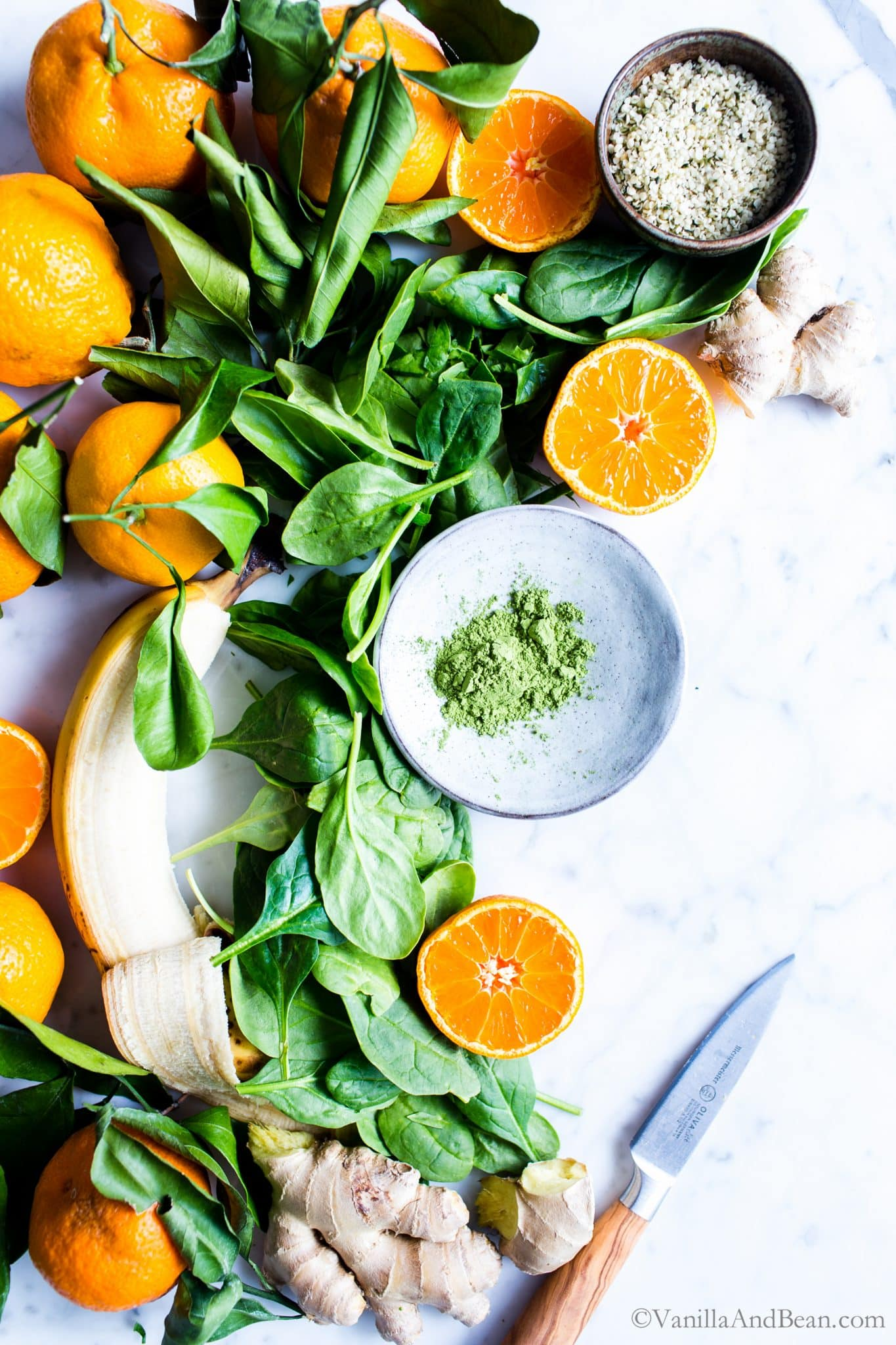 Spinach, banana, oranges, ginger and other recipe ingredients