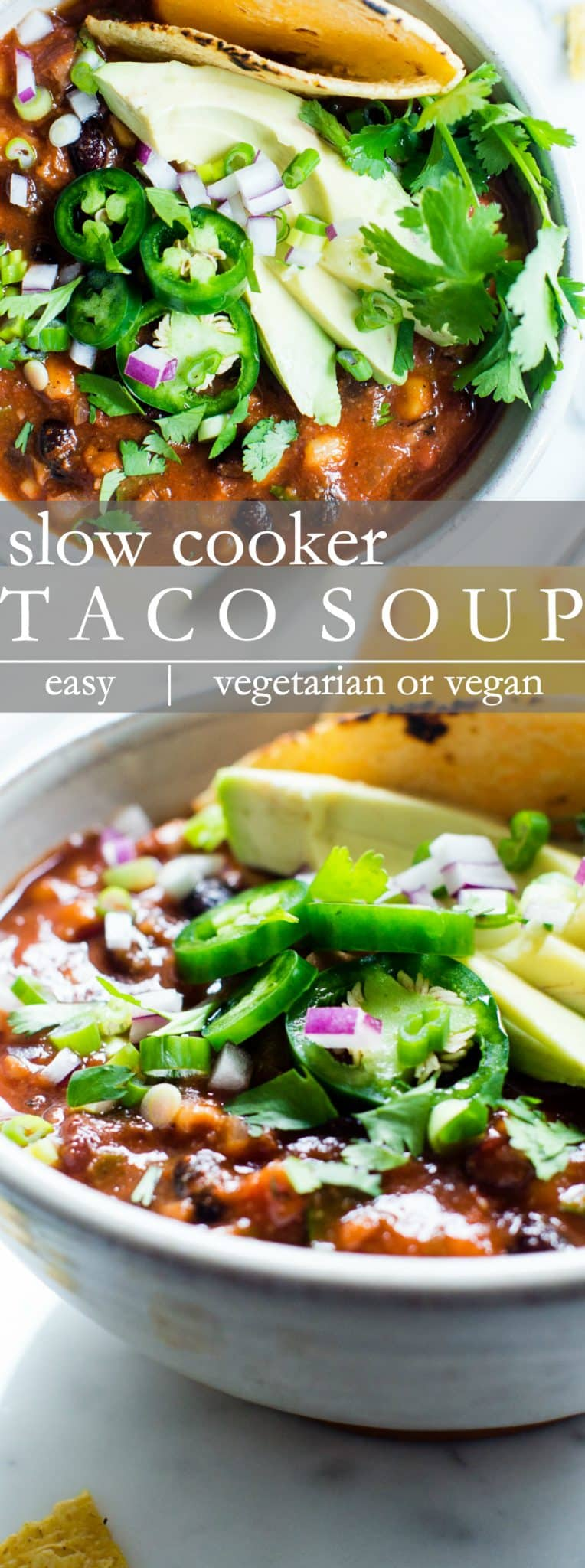So easy to whip up! Set it and forget it, Slow Cooker Vegetarian Taco Soup! Rich, thick and hearty, packed with warming spices, beans and corn. It's freezer friendly too! #TacoSoup #VeganTacoSoup #VegetarianTacoSoup #HealthytacoSoup #SlowCookerTacoSoup