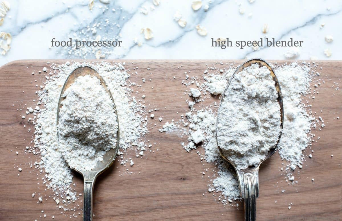 Making Oat Flour at home couldn't be simpler and is more economical than store-bought. I'm sharing how to DIY oat flour and the differences between making it in a food processor and a blender. #HowToMakeOatFlour #OatFlour #DIYOatFlour #GlutenFreeOatFlour