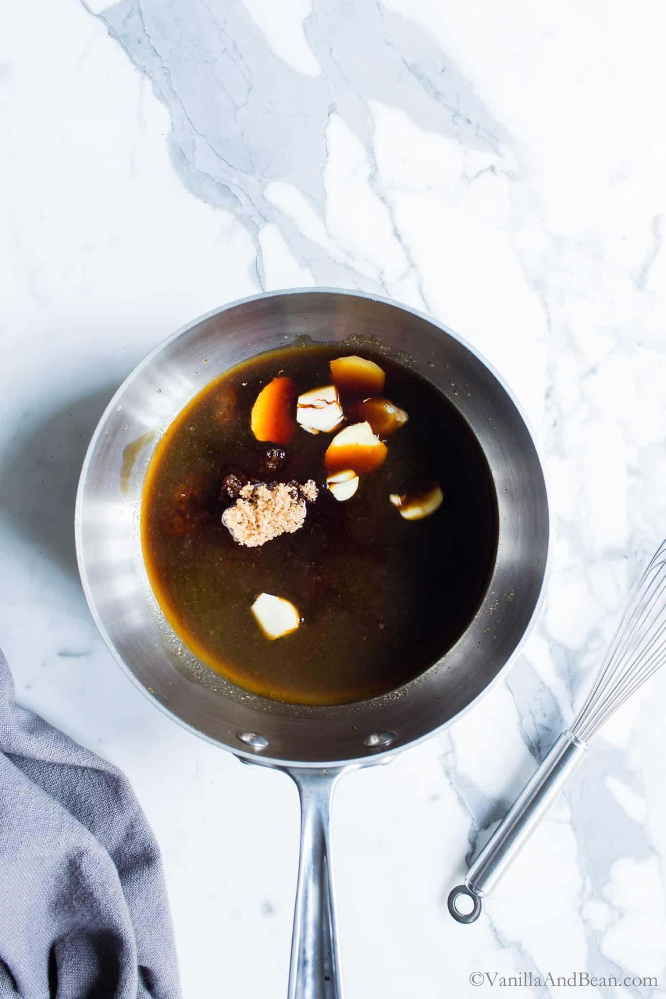 Ginger-Garlic Teriyaki Sauce ingredients in a sauce pot.