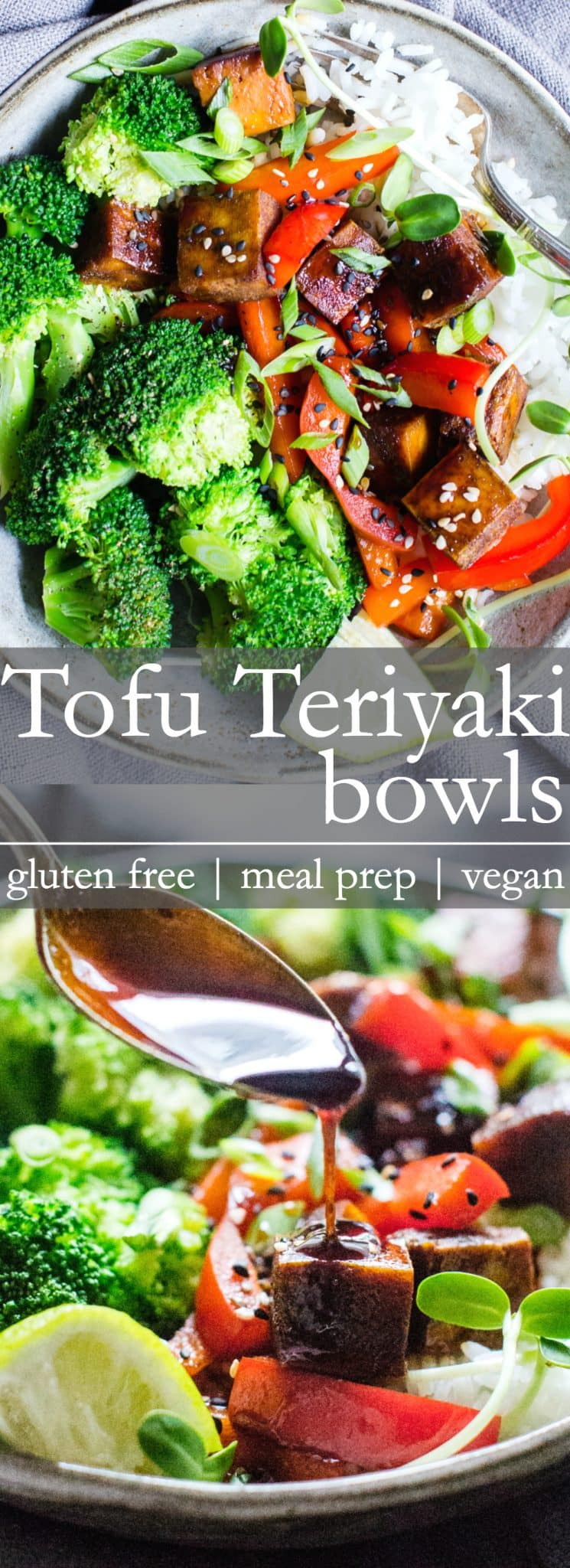 With a little meal prep, these Speedy Tofu Teriyaki Bowls come together with ease for a simple and flavor-packed weeknight dinner. #TofuBowls #VeganTofu #GlutenFreeVeganDinner #MarinatedTofu #TeriyakiBowls