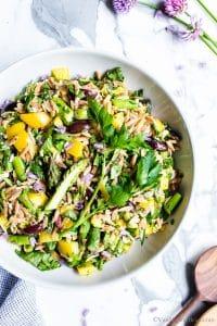 Lemon Orzo Salad with Asparagus, Spinach and Feta