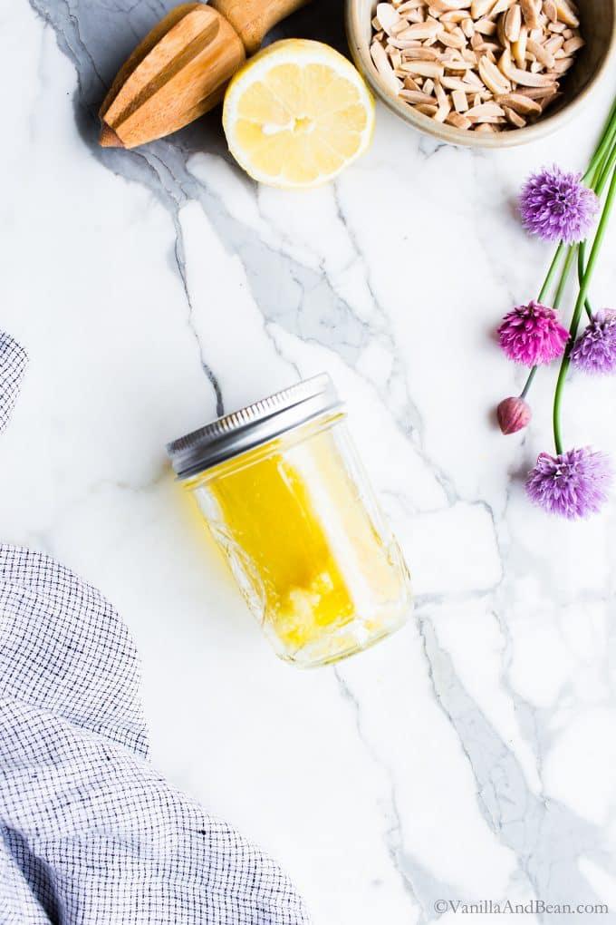Lemon Garlic Dressing in a Jar