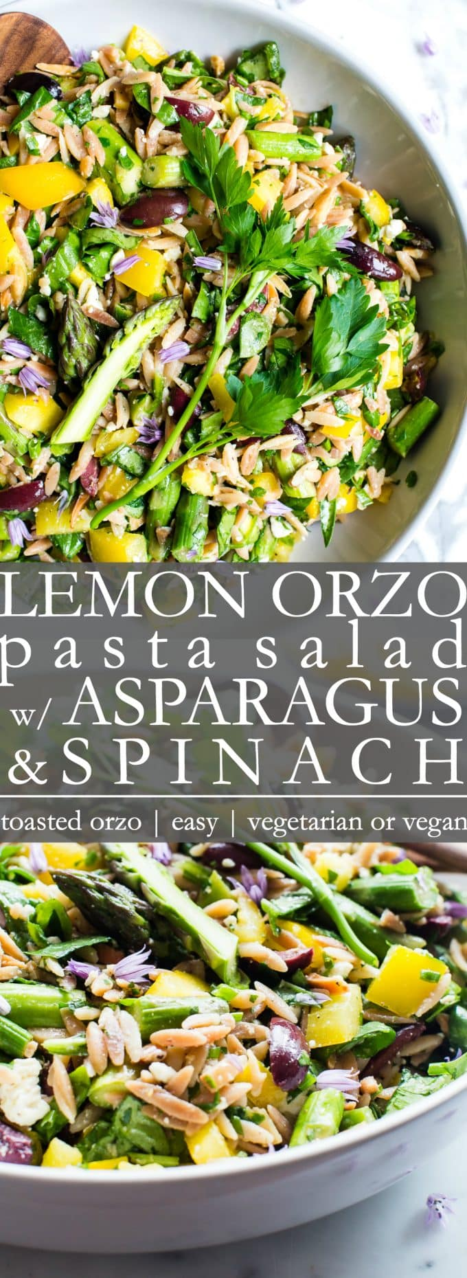 Lemon Orzo Pasta Salad with Asparagus, Spinach and Feta