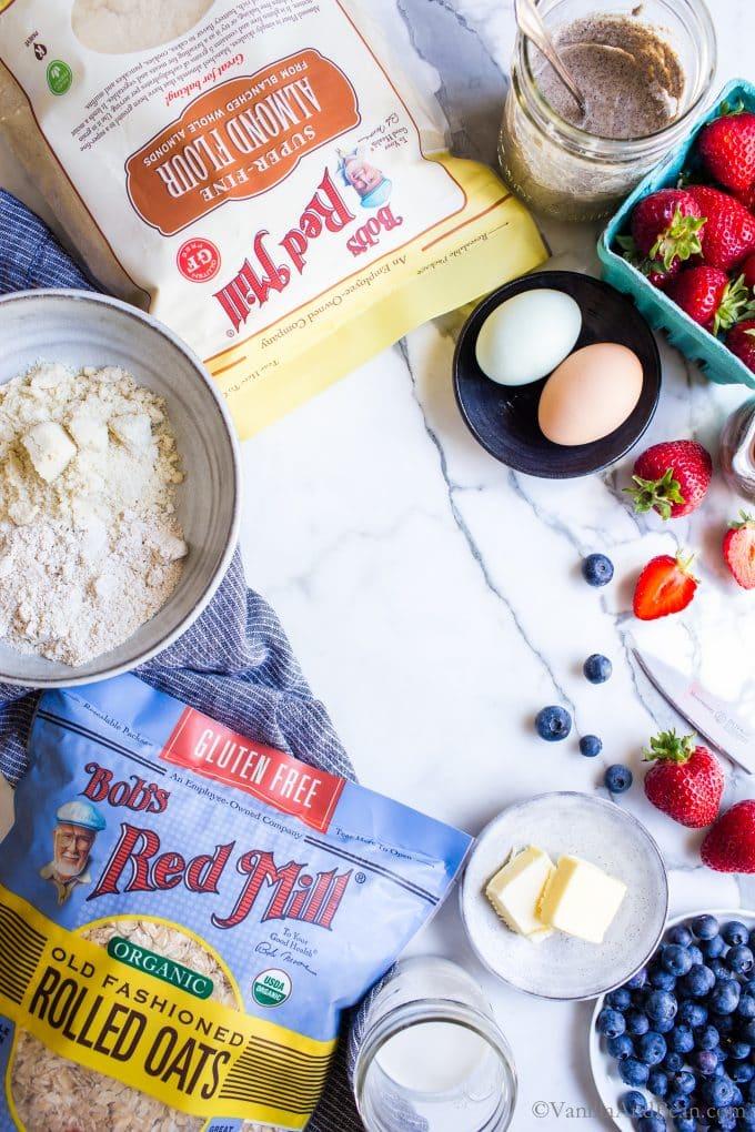 Ingredients for Gluten Free Pancakes