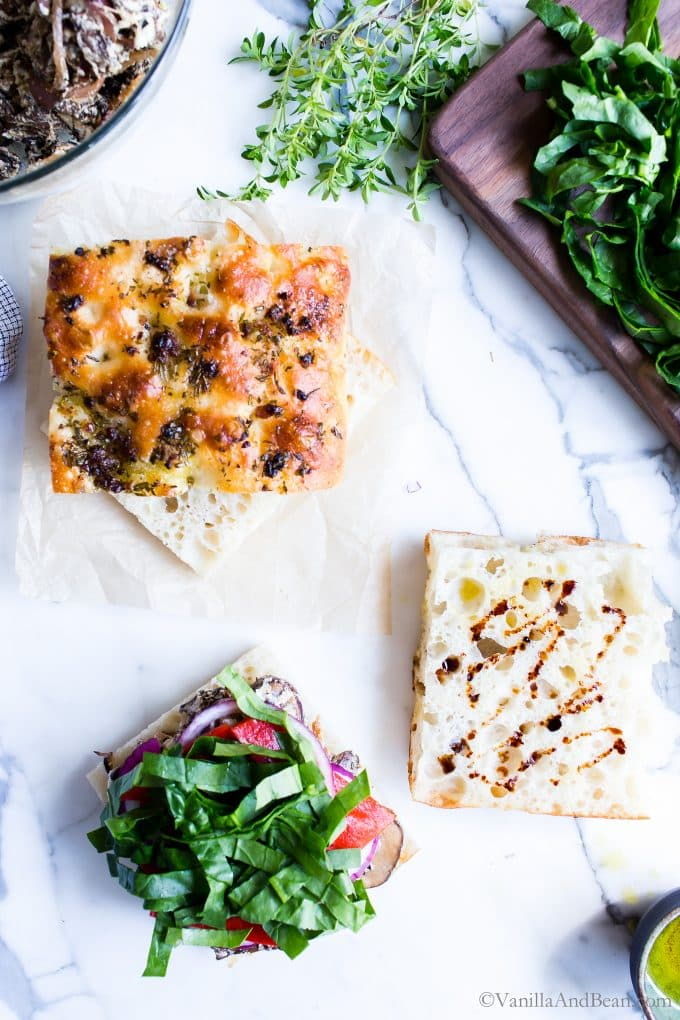 Vegetarian Panini Recipe on Focaccia Bread assembly.