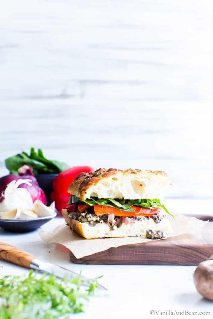 Mushroom Sandwich on a cutting board