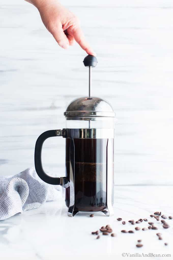Press the grounds out using a French press for cold brew.