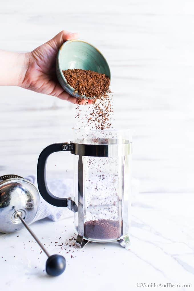Adding the coffee grounds to the French Press
