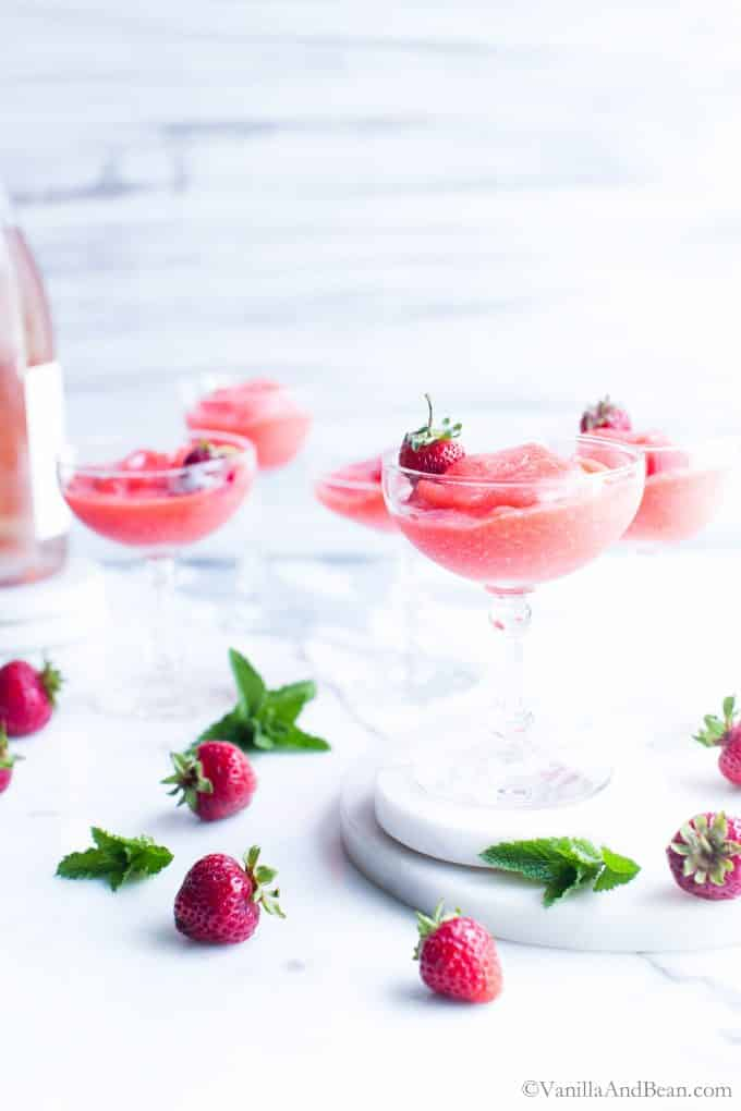 Frozen Wine Slushies in Aperitif Glasses