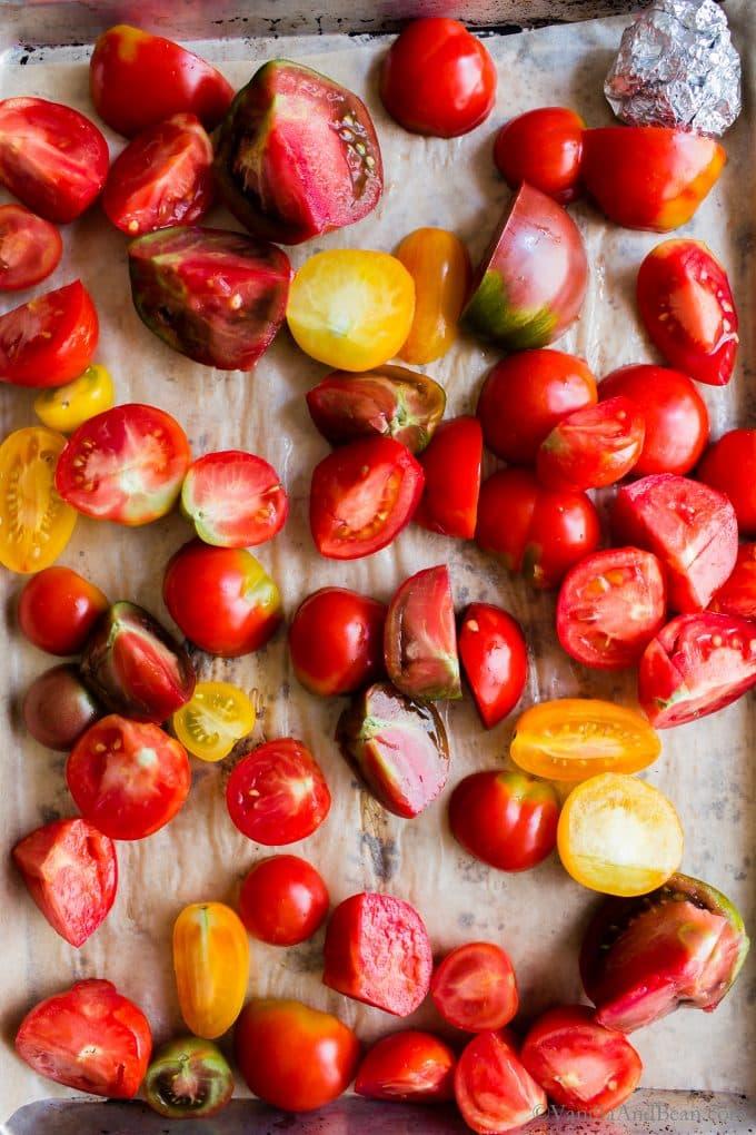 Fresh Tomatoes in Roasting Pan