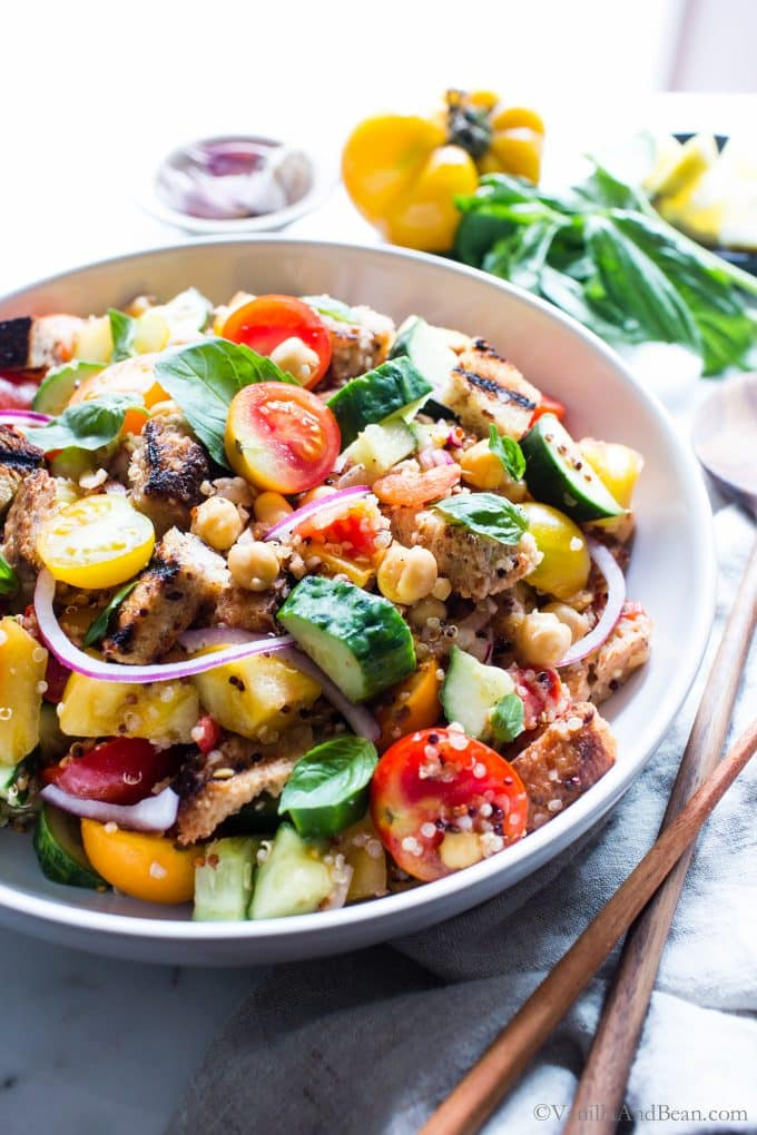 Grilled Panzanella Salad Recipe shared in a large serving bowl.