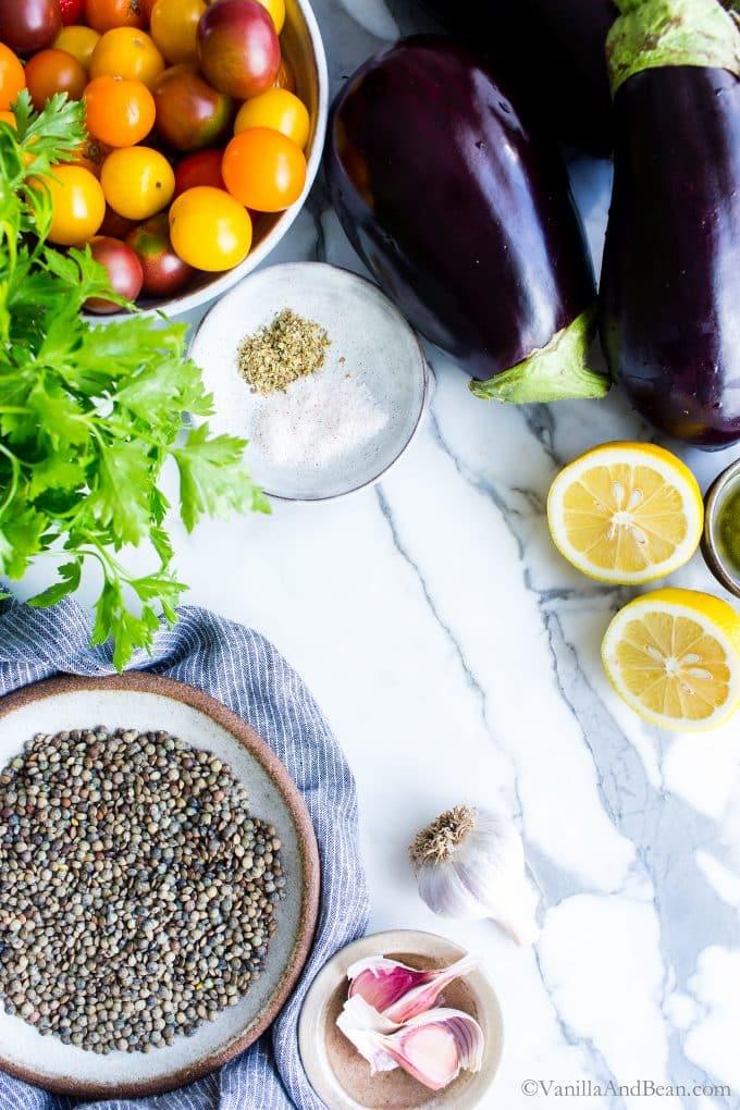 Ingredients for Mediterranean Lentils.