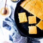Best Gluten Free Cornbread in a cast iron skillet.