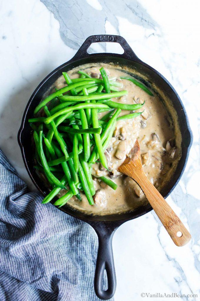 Fresh Green Beans In Homemade Cream of Mushroom Soup