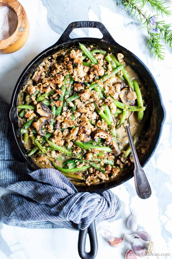 Easy Vegan Green Bean Casserole in a skillet ready to serve.