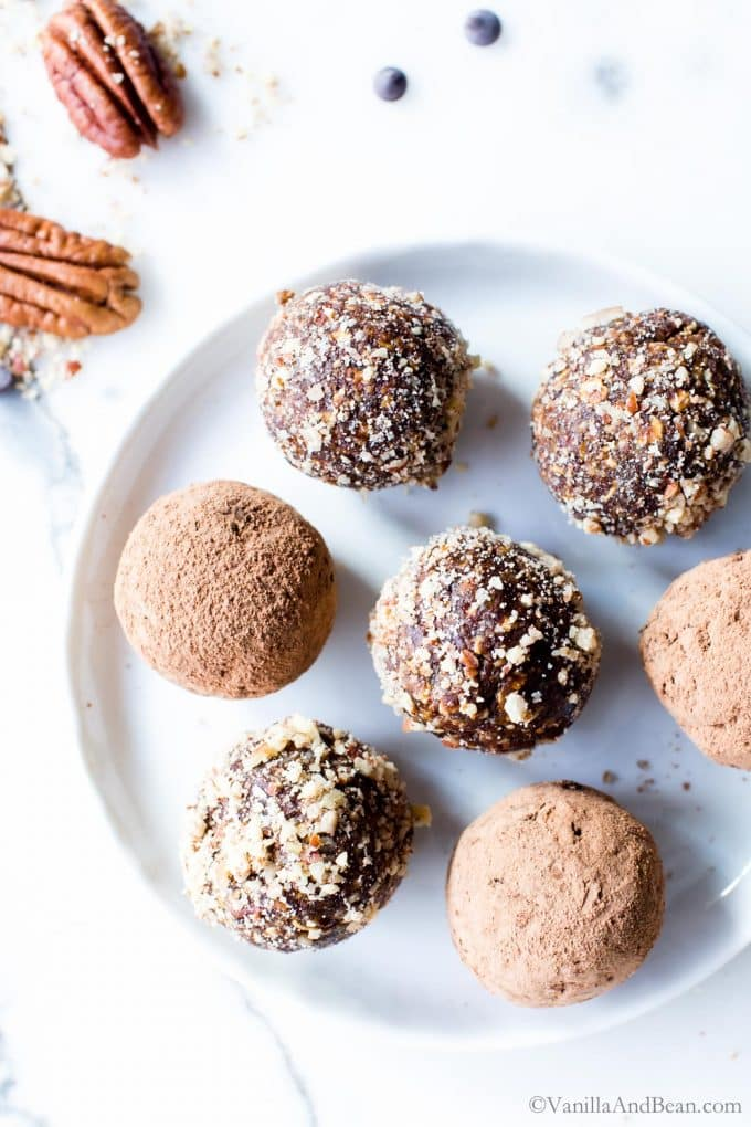 Chocolate Pecan Pie Bliss Balls on a plate.