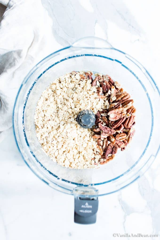 Oats and Pecans in a Food Processor