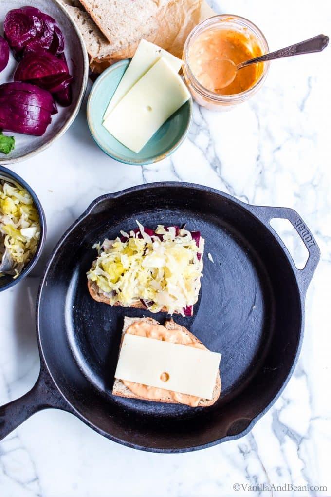 Making a Sauerkraut Sandwich in a Cast Iron Skillet