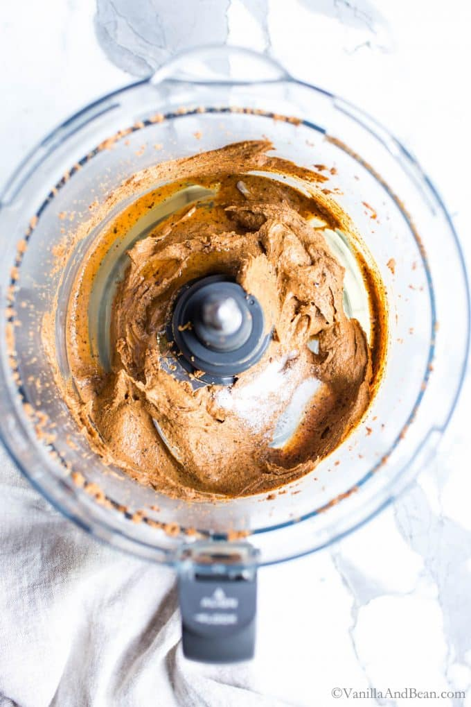 Top view of Baru Cashew Nut Butter in a food processor after being processed for about 12 minutes.