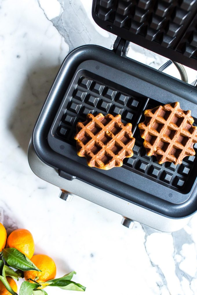Baking healthy oat waffles