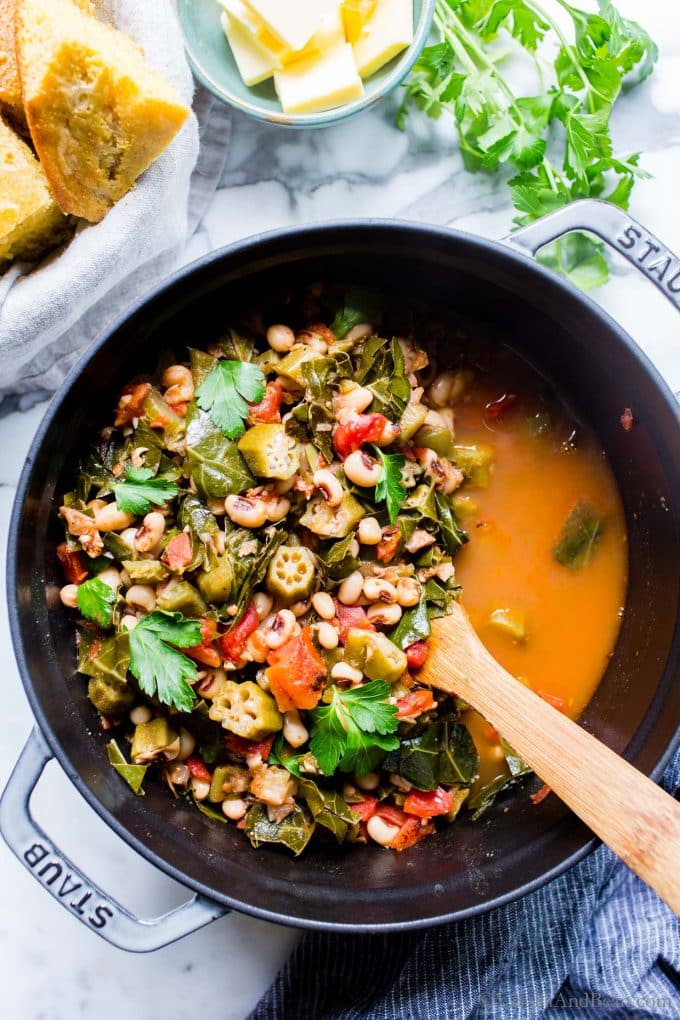 Healthy Black Eyed Pea Recipe in a Dutch oven.