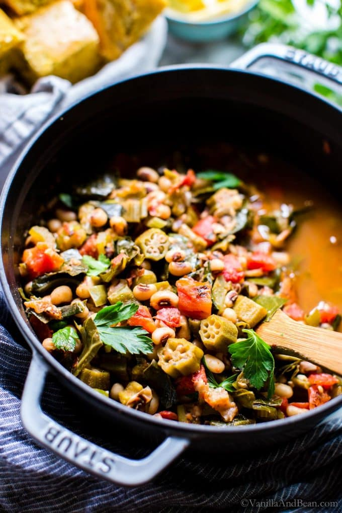 Cajun Stewed Vegetarian Black Eyed Pea Recipe in a Dutch Oven