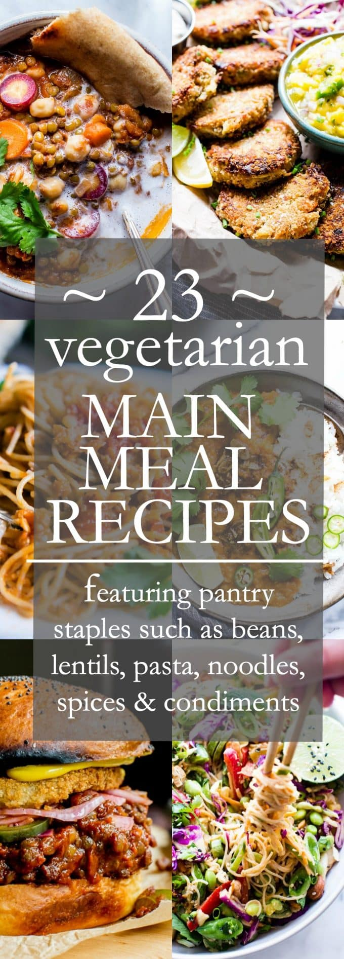 A Collection of 23 Vegetarian Main Meal Recipes Ad to Take you to the Recipe Round Up Post