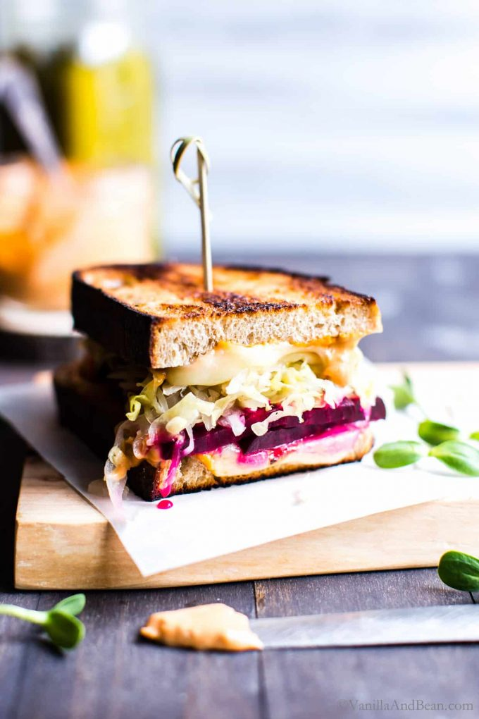 The Vegetarian Beet Rueben Sandwich with saucy mayo.