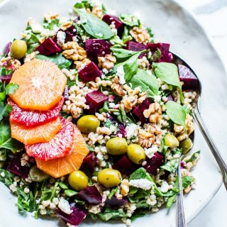 Wheat Berry Salad in a big bowl ready to be shared.
