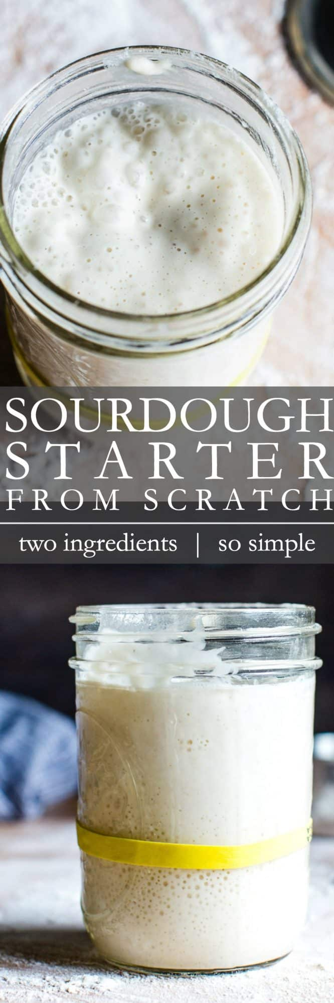 A tall sourdough starter from scratch pin for Pinterest.
