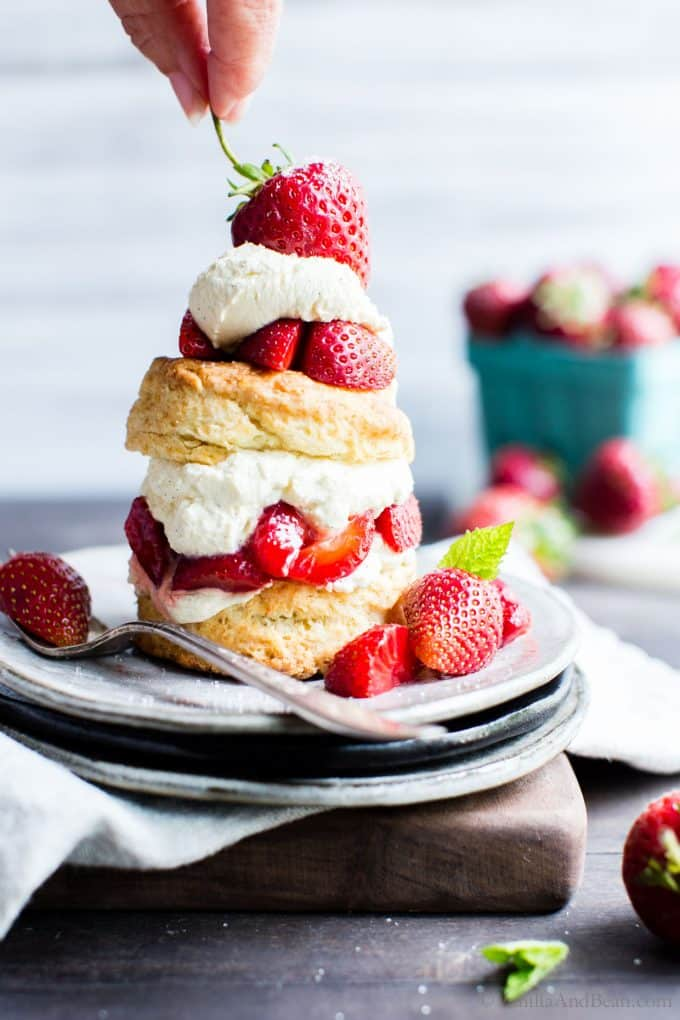 Strawberry Shortcake with Sourdough Biscuits on a plate ready to be shared.