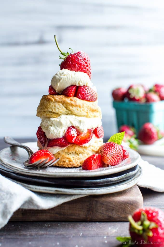 Sourdough Strawberry Shortcake Biscuits on a plate ready to be shared.