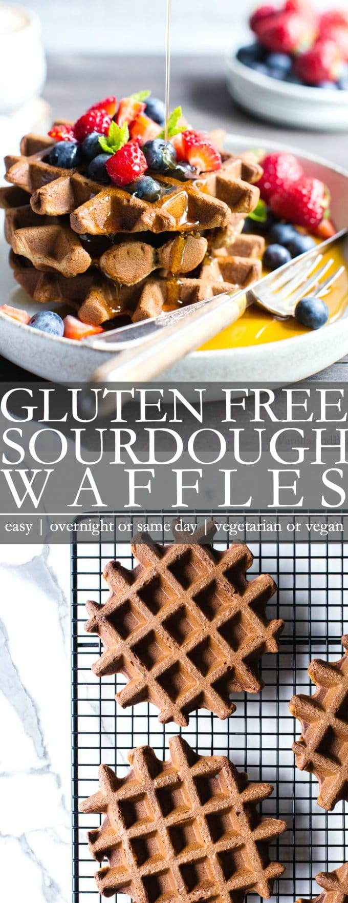 Gluten Free Sourdough Waffles Pinterest Pin