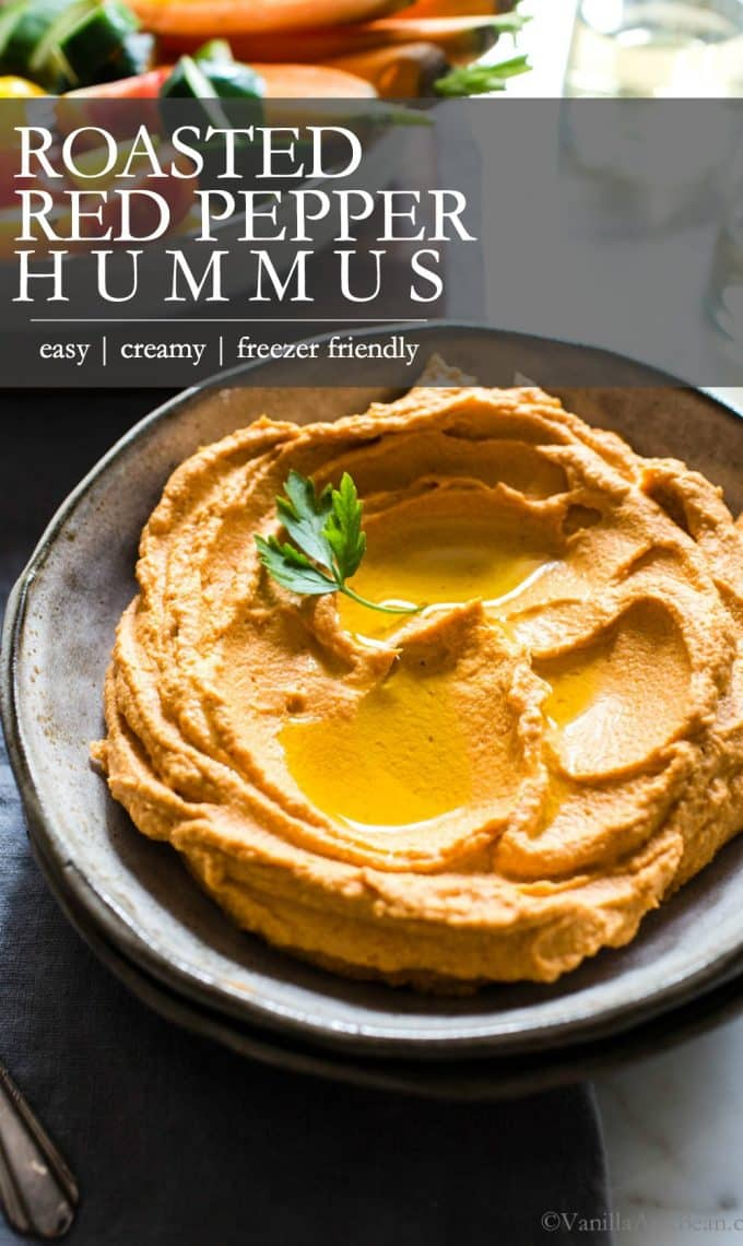 Roasted Red Bell Pepper Hummus Pin for Pinterest