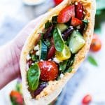 Close up of Greek Pita Sandwiches.