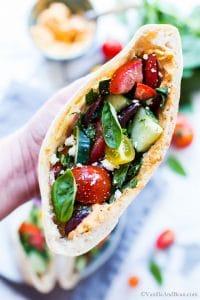 Close up of Greek Pita Sandwiches.