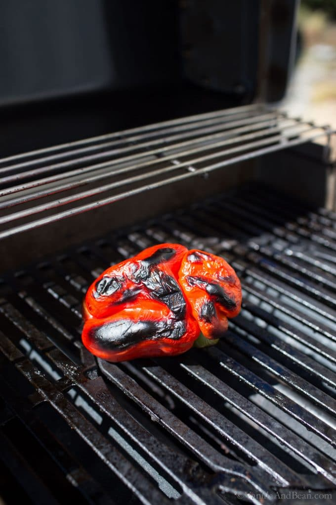 Roasted a Red Bell Pepper on a Grill
