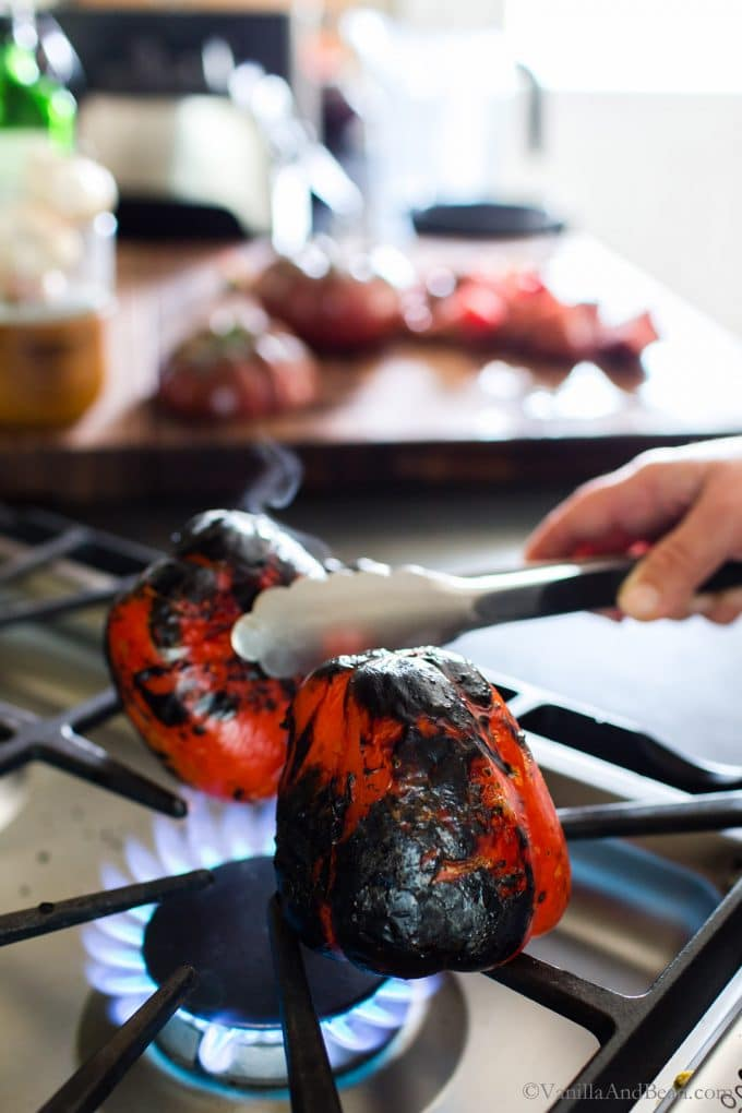 Roasting Red Peppers on an open flame, stovetop.
