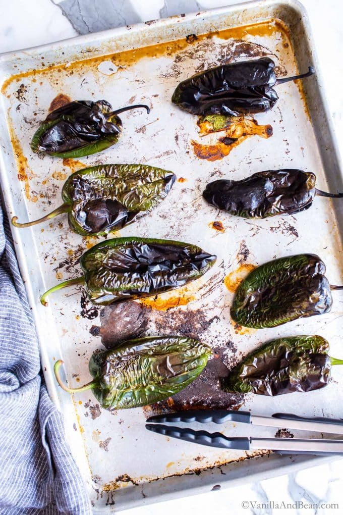 Roasted Poblano Peppers on a sheetpan.