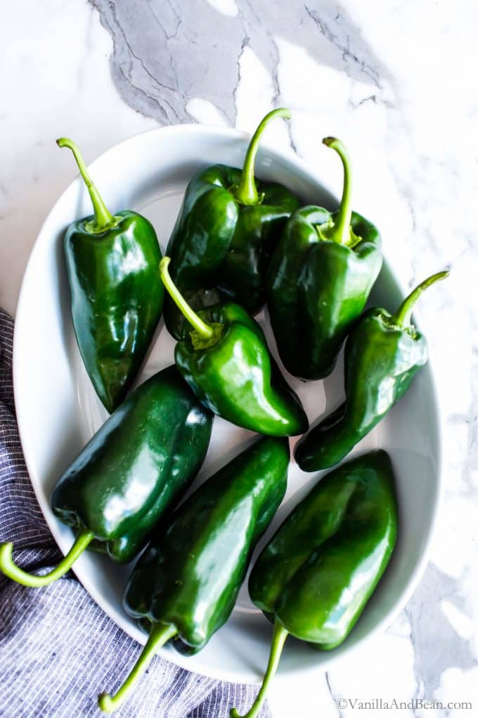 Fresh poblano peppers in a white dish.