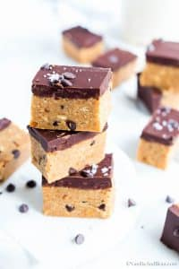 No Bake Peanut Butter Chocolate Bars with sea salt sprinkled on top.