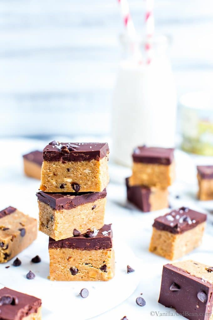 Edible Peanut Butter Cookie Dough Bars stacked tall.