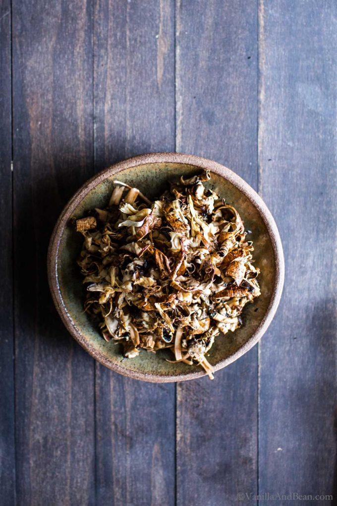 Pulled Portobello Mushrooms in a bowl.
