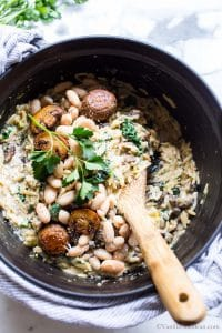 Best Orzo Recipe in a Dutch Oven with mushrooms and kale.