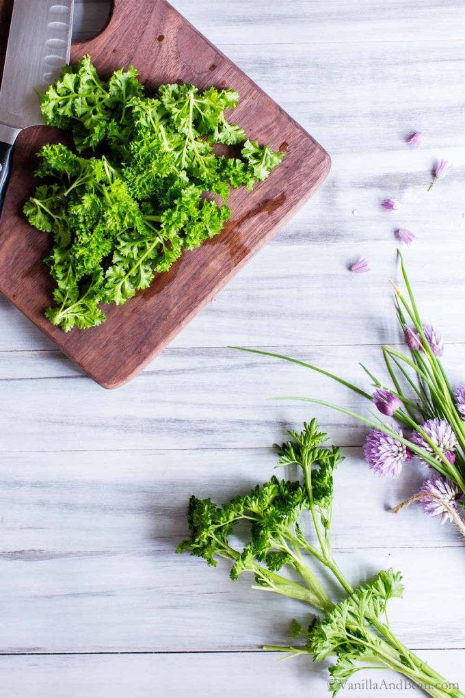 Herbs on a cutting boards.
