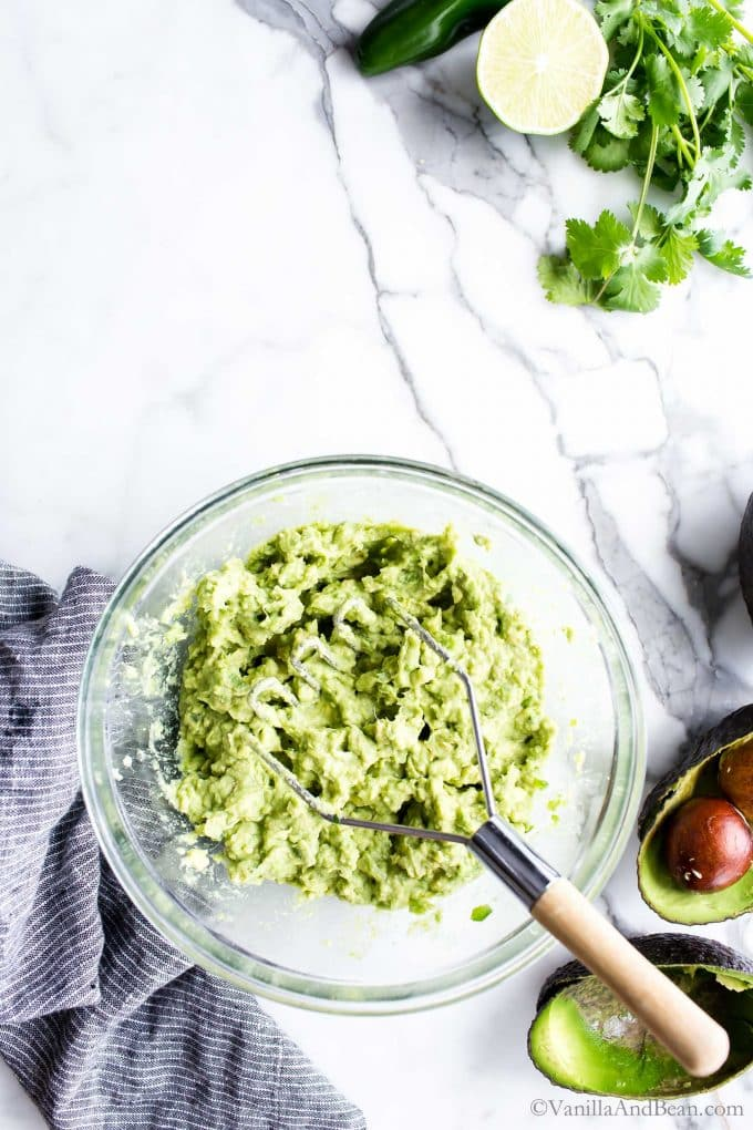Just mashed avocados in a bowl.