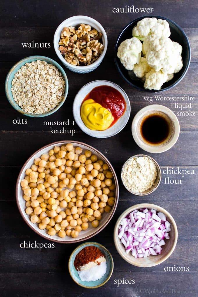 Ingredients for Vegetarian and Vegan Chickpea Burgers