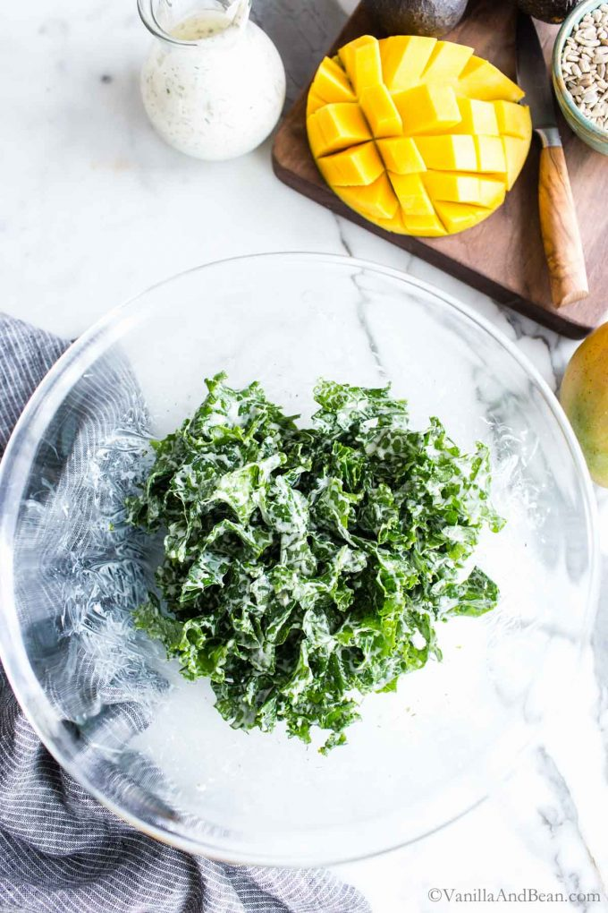 Massaged kale with ranch in a bowl.
