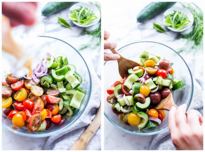 1. Dressing being poured over a healthy cucumber salad. 2. Tomato Cucumber Salad Recipe being tossed in a bowl.